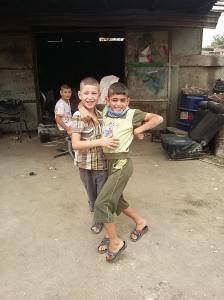 funny kids at the scrap yard