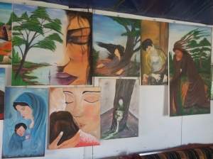 some of the art-work Suleman has done for the camp, he also teaxches and encourages the kids to draw and paint