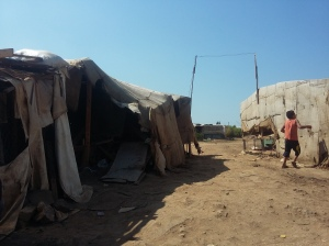 Local Bedouain camp, despite their condition, they don't qualify for refugee status